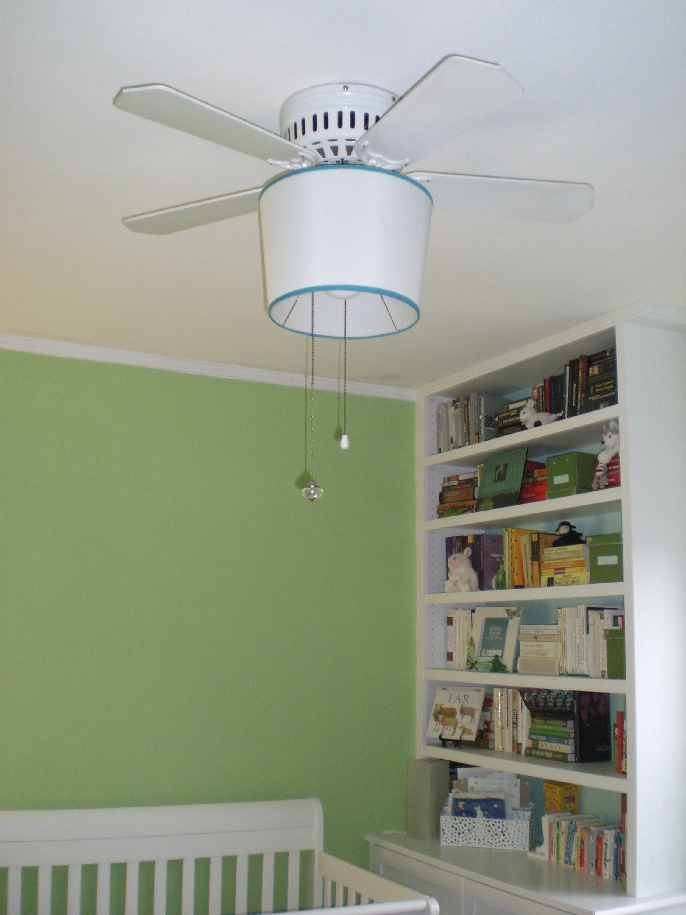 Updating the nursery ceiling fan with a shade