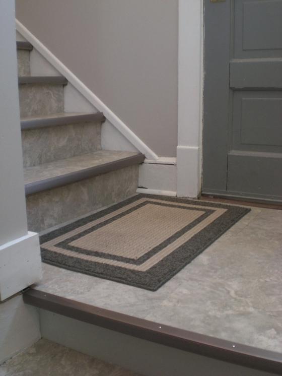 basement stair makeover vinyl tiles